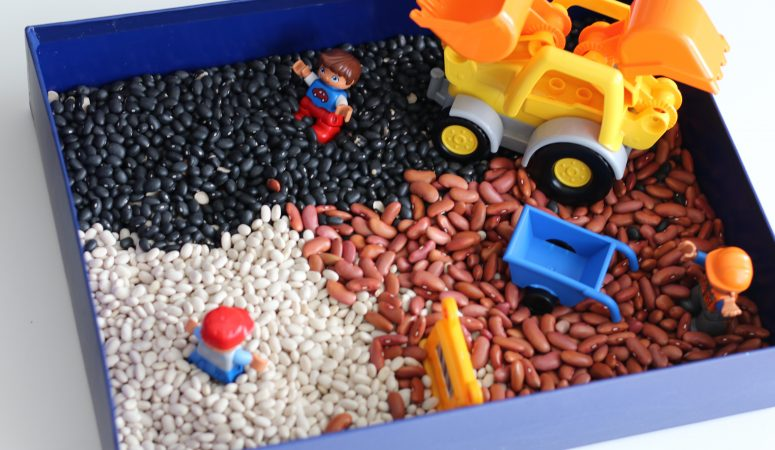 LEGO DUPLO + Beans Sensory Bin