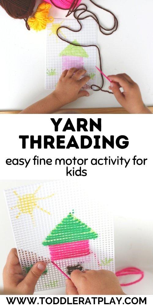 yarn threading - toddler at play