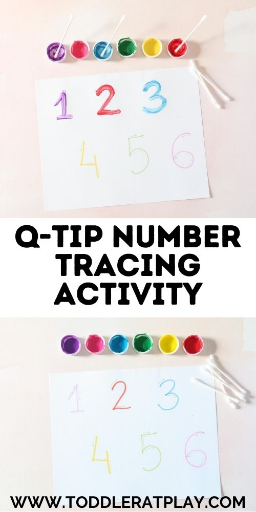 q-tip number tracing activity - toddler at play