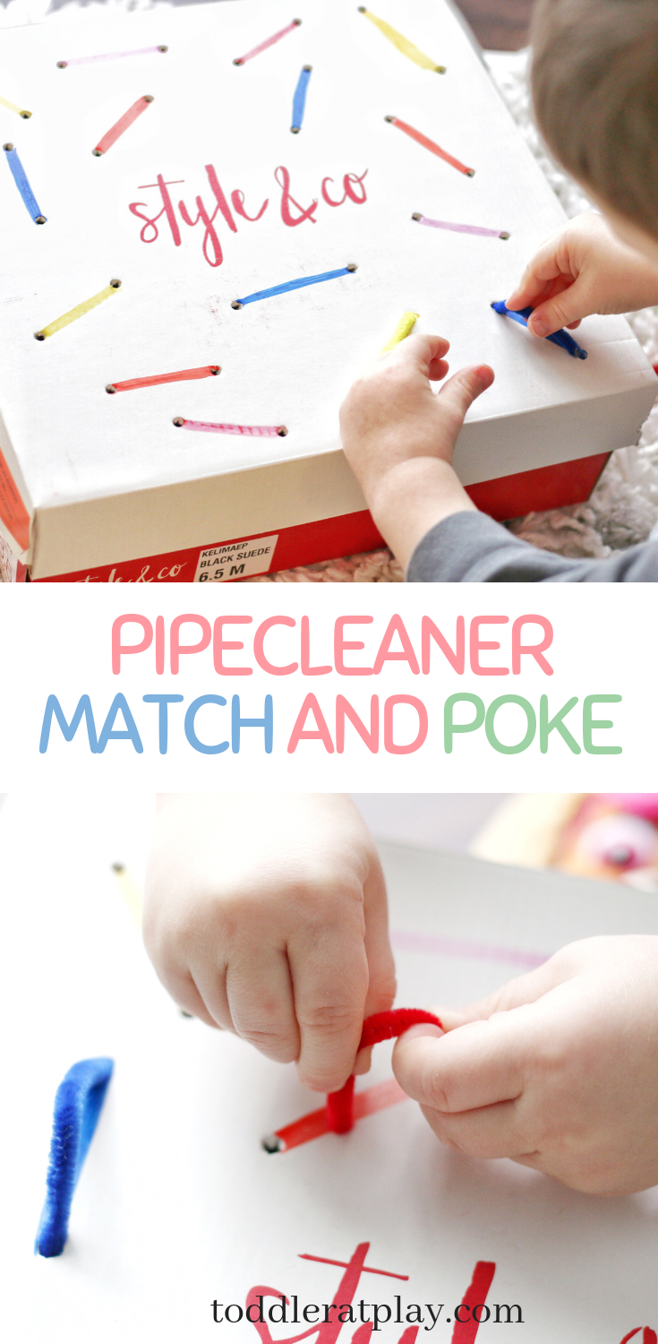 pipecleaner match and poke-toddler at play (1)