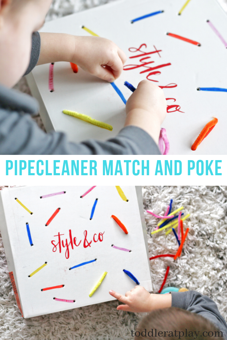 pipecleaner match and poke-toddler at play (3)