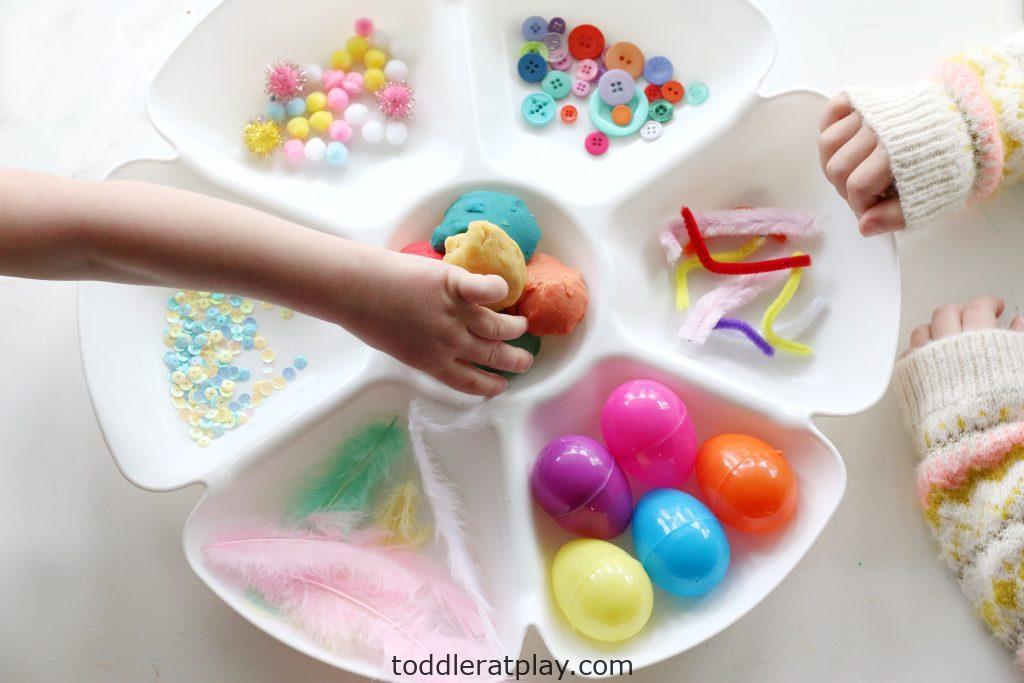 spring play-dough tray-toddler at play (10)