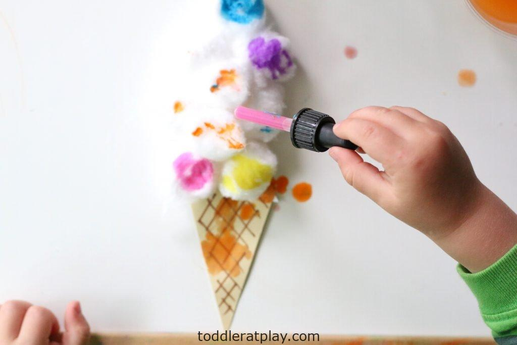 cotton ball ice cream craft- toddler at play (1)