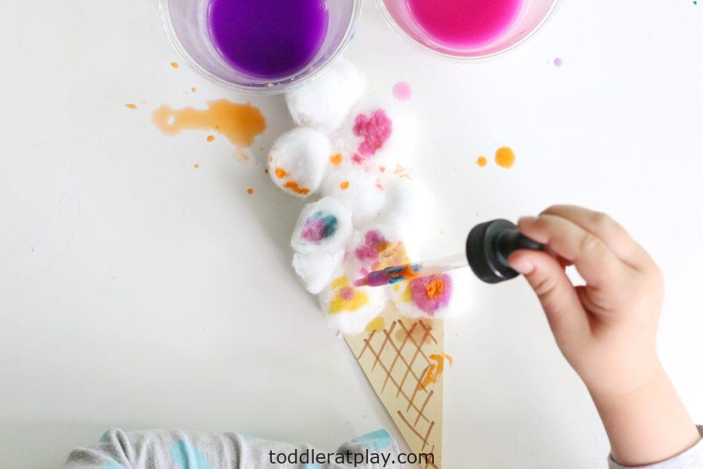 cotton ball ice cream craft- toddler at play (13)