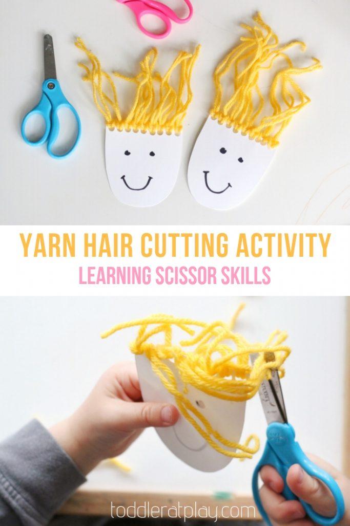 yarn hair cutting activity- toddler at play (13)