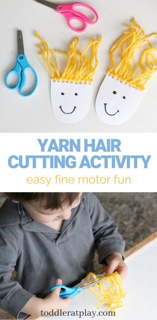 yarn hair cutting activity- toddler at play (14)
