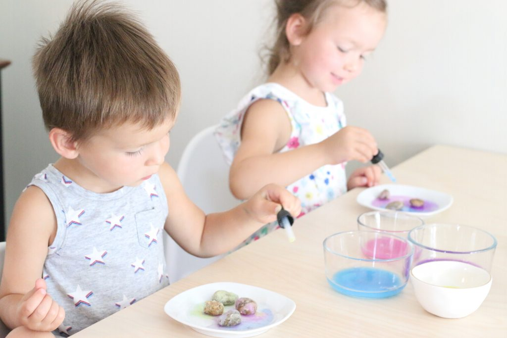 painting salted rock gems - toddler at play (9)