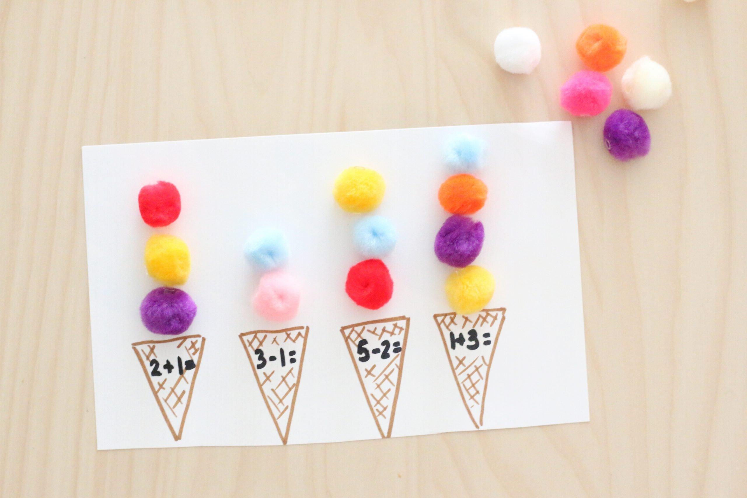 Pom-pom Ice Cream Scoop Math Activity