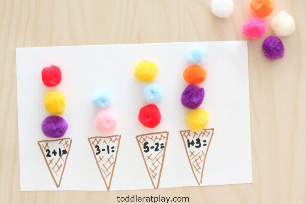 pom-pom ice cream scoop math- toddler at play (7)