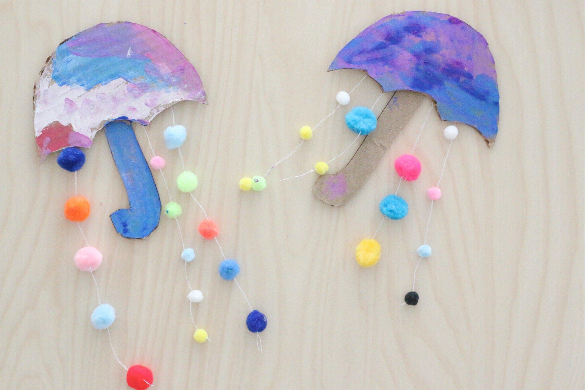 Pom-pom Umbrella Craft
