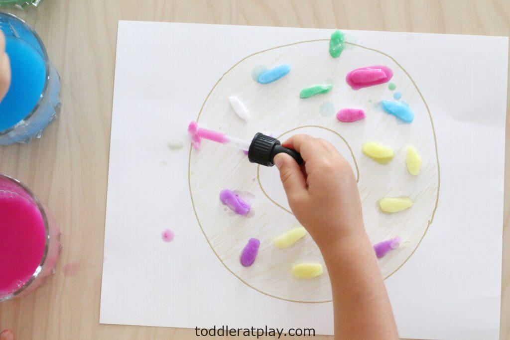 cotton rounds sprinkled donuts- toddler at play (9)