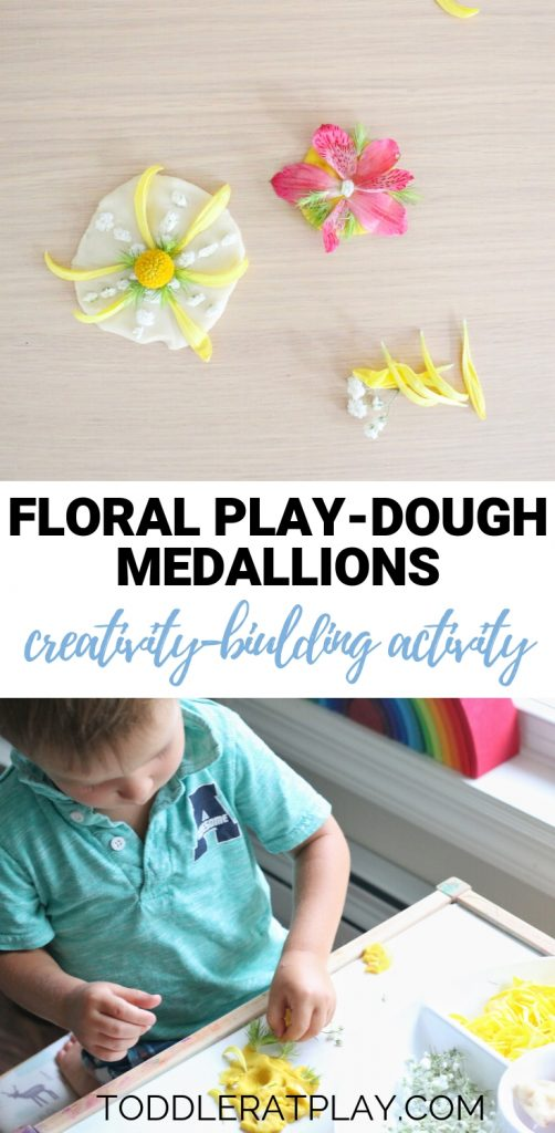 floral play-dough medallions- toddler at play (1)