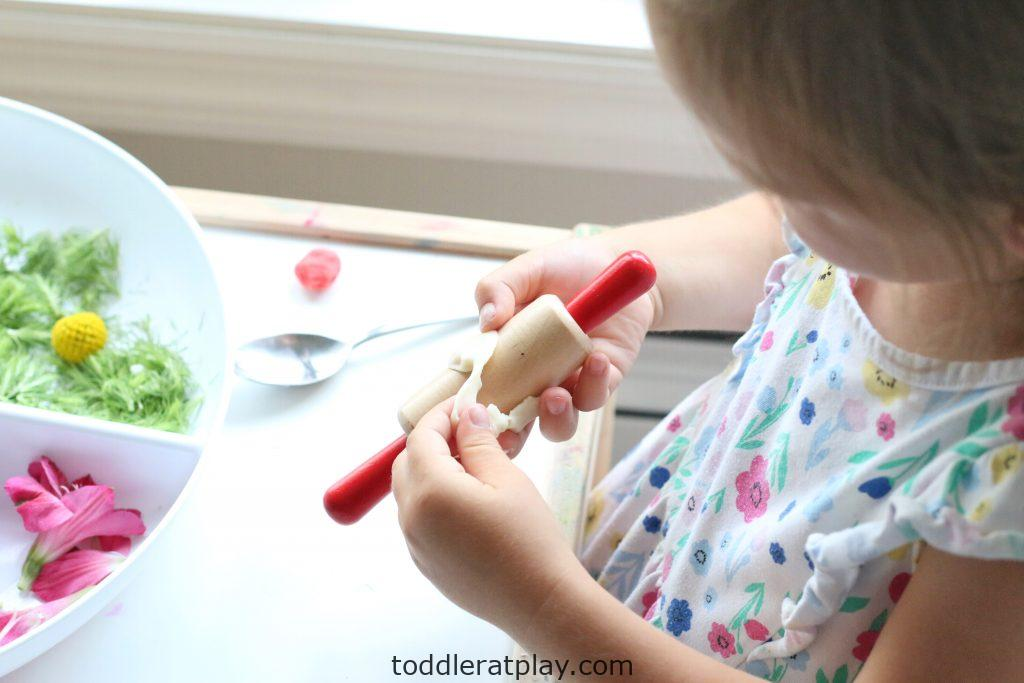 floral play-dough medallions- toddler at play (13)