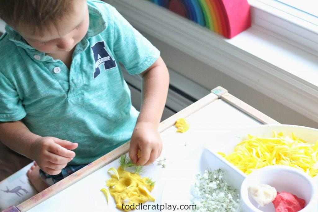 floral play-dough medallions- toddler at play (15)