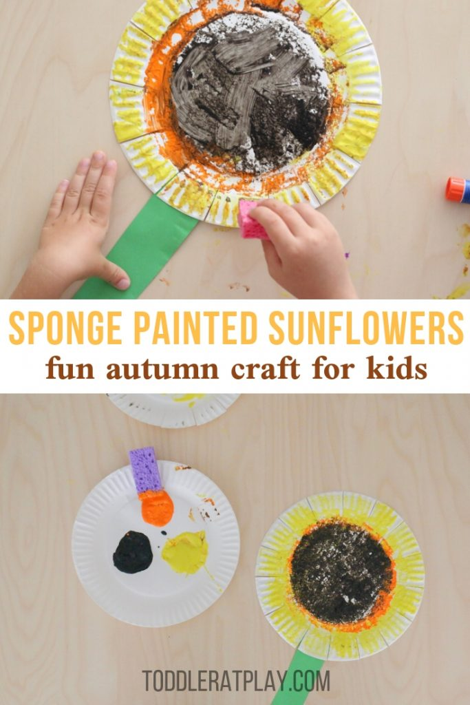 sponge painted sunflower- toddler at play (1)