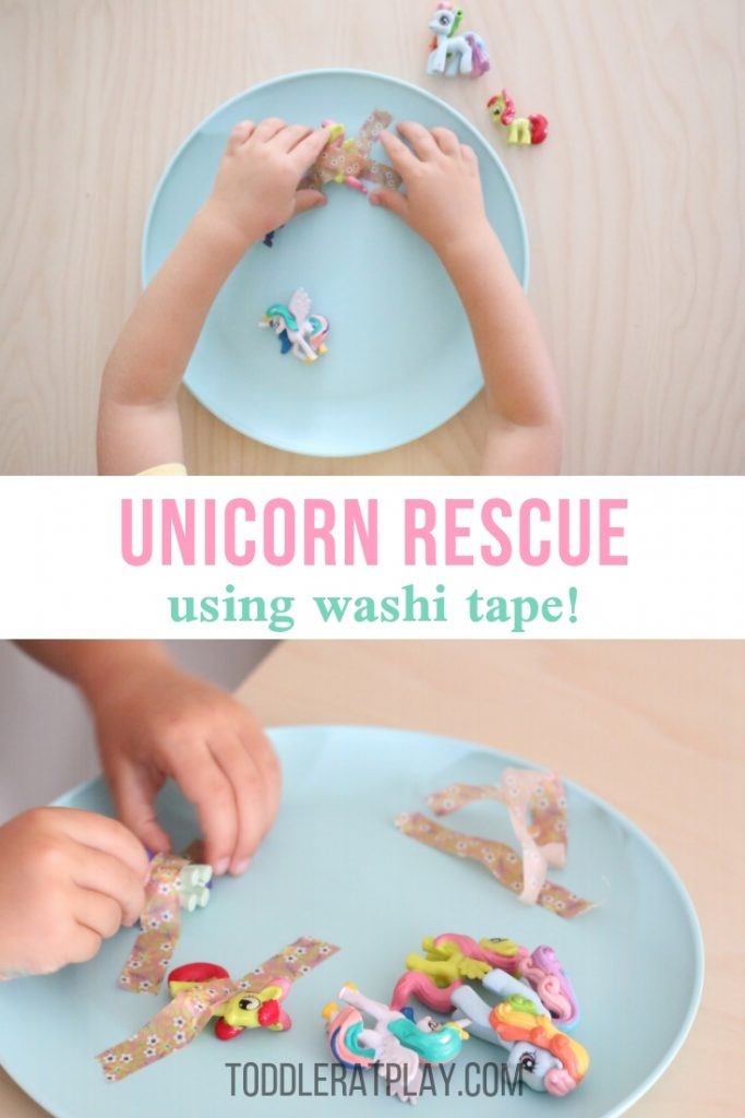 washi tape unicorn rescue- toddler at play (7)