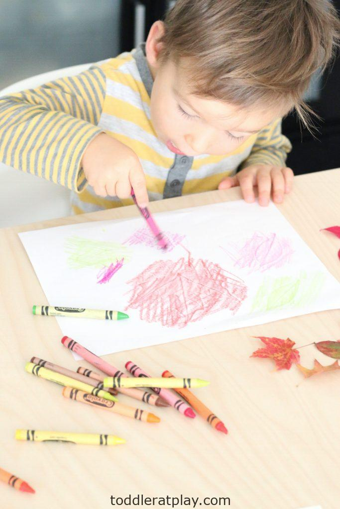 autumn leaf embossing- toddler at play (5)