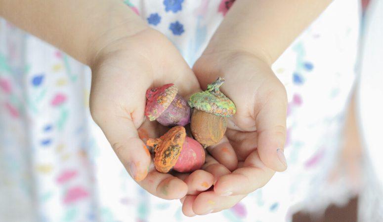 painting acorns activity