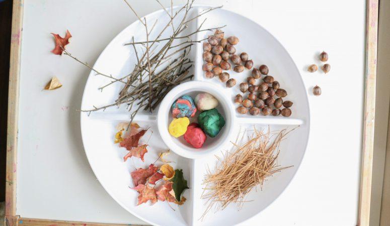 autumn play-dough tray: invitation to create