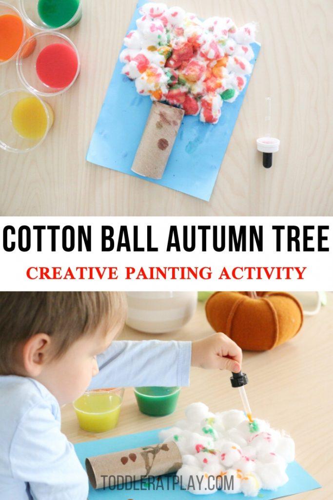 cotton ball autumn tree- toddler at play (1)