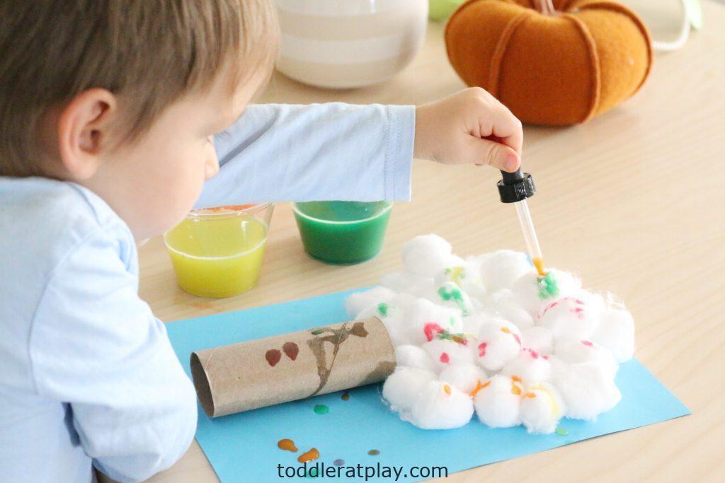 cotton ball autumn tree- toddler at play (10)