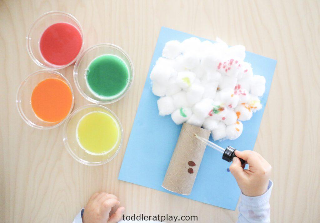 cotton ball autumn tree- toddler at play (11)