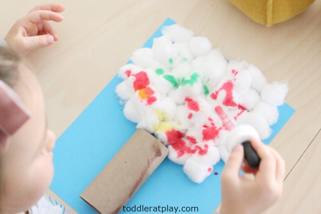 cotton ball autumn tree- toddler at play (9)