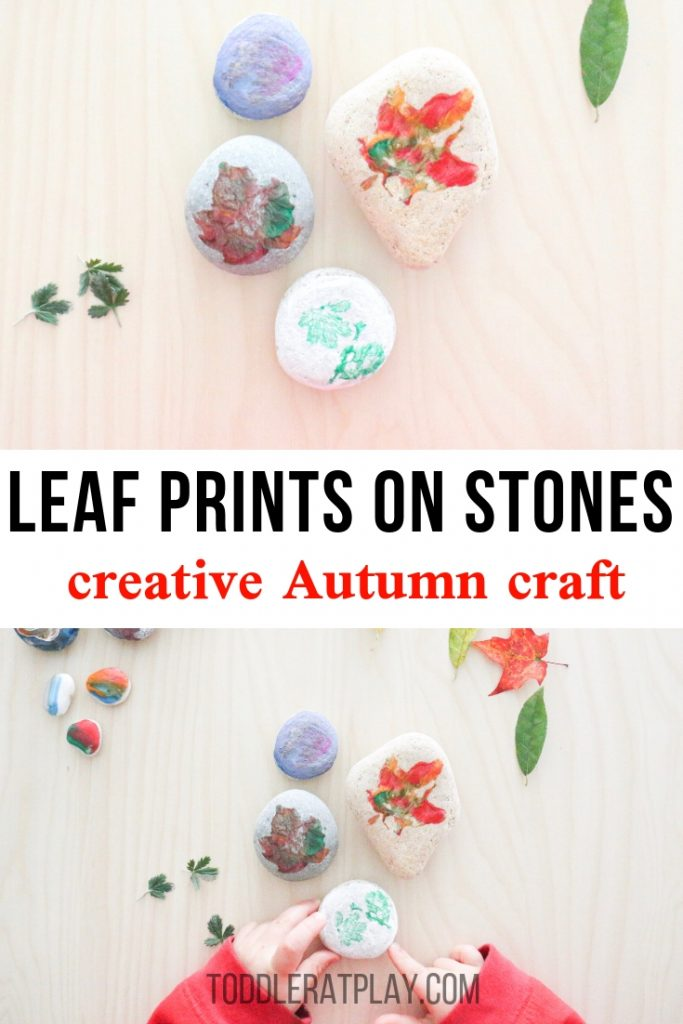 leaf prints on stones- toddler at play (1)