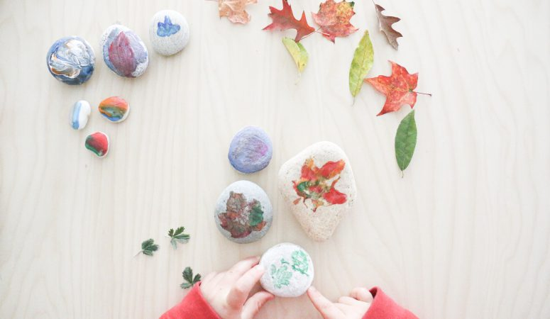 Leaf Prints on Stones Craft