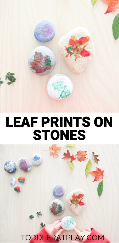 leaf prints on stones- toddler at play (8)