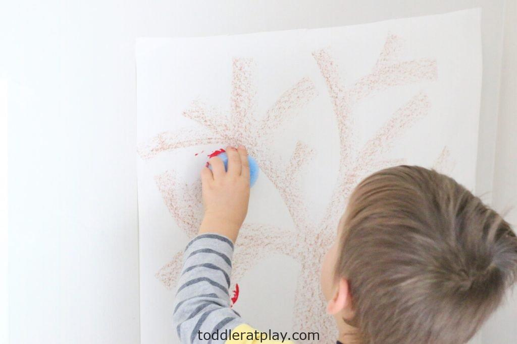 pool noodle stamped apple tree- toddler at play (6)