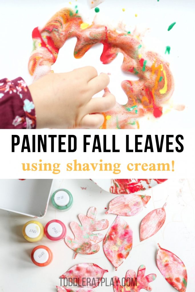 shaving cream painted fall leaves- toddler at play (1)