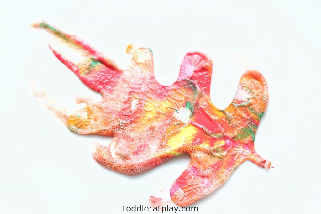 shaving cream painted fall leaves- toddler at play (5)