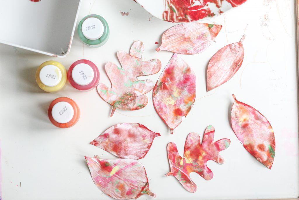 shaving cream painted fall leaves- toddler at play (9)