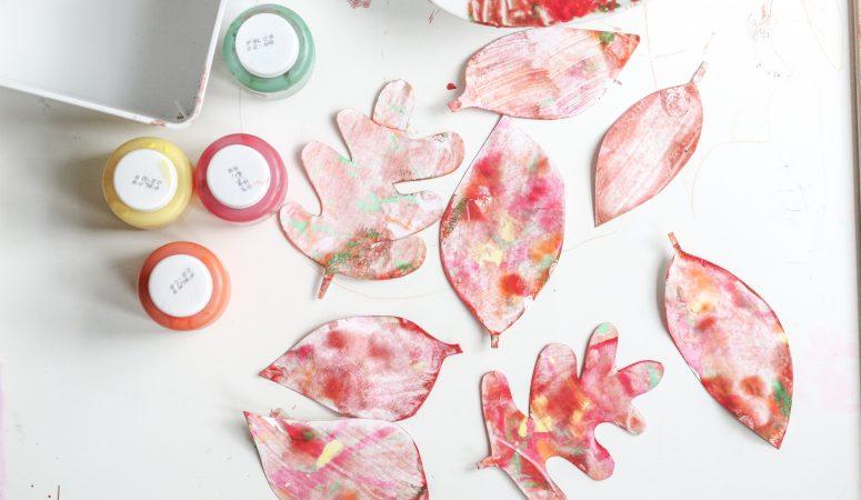 Shaving Cream Painted Fall Leaves