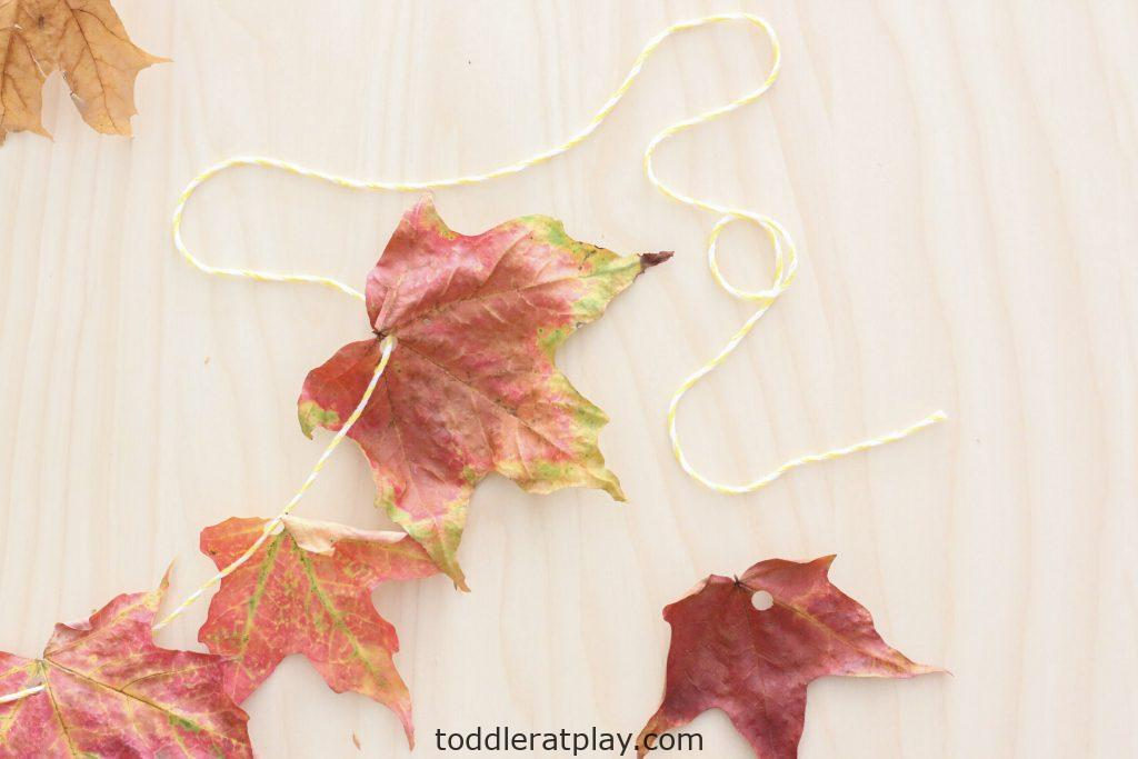 leaf garland- toddler at play (4)