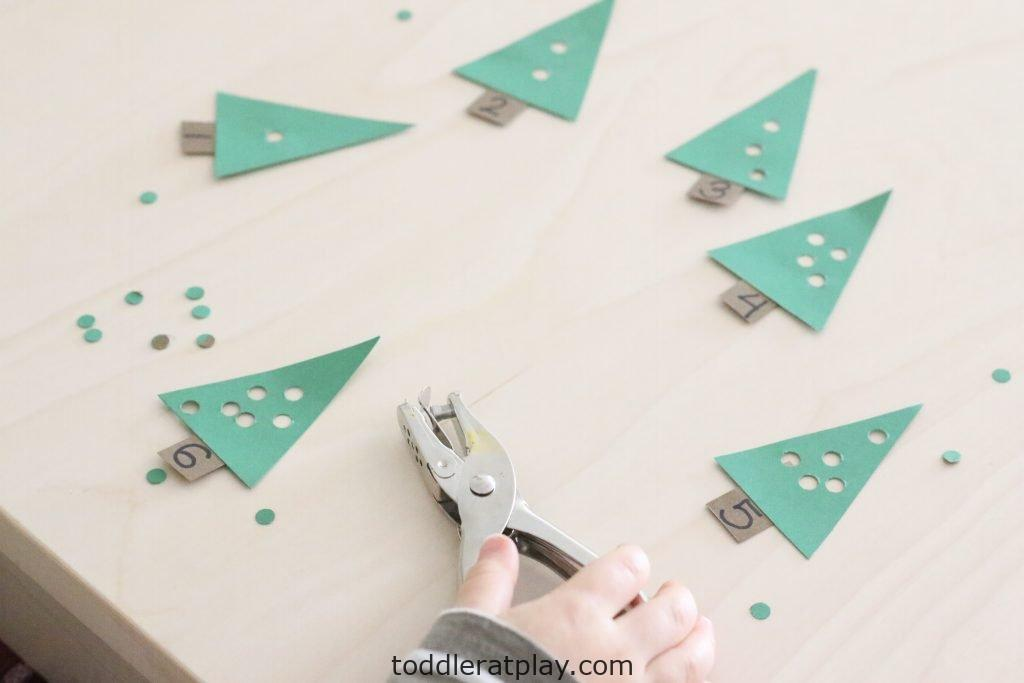 christmas tree hole punching activity- toddler at play (9)