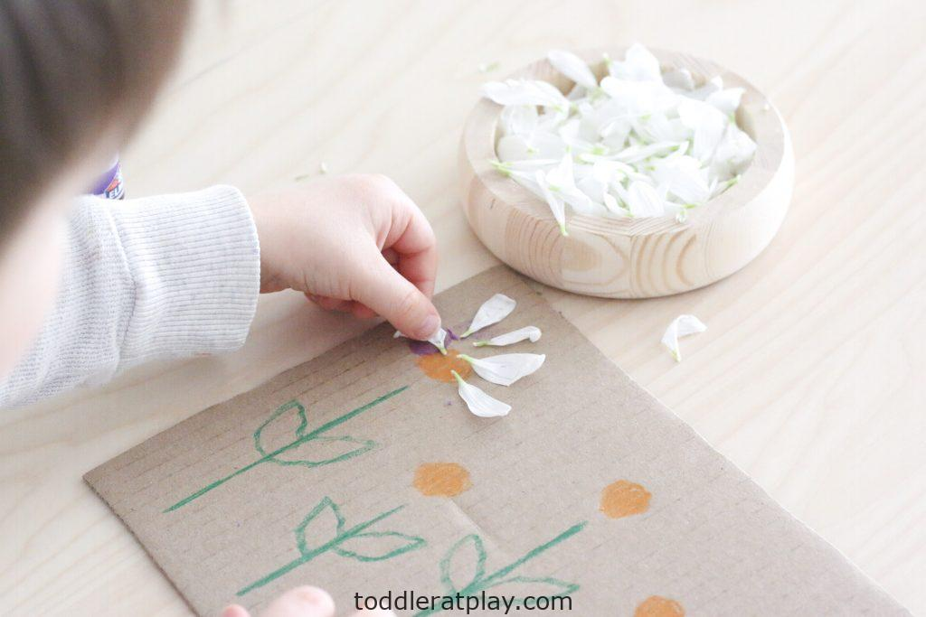 flower petal art- toddler at play (1)