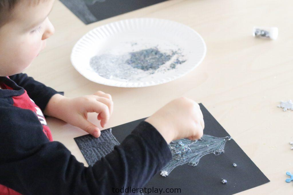 glittery winter scene craft- todder at play (3)