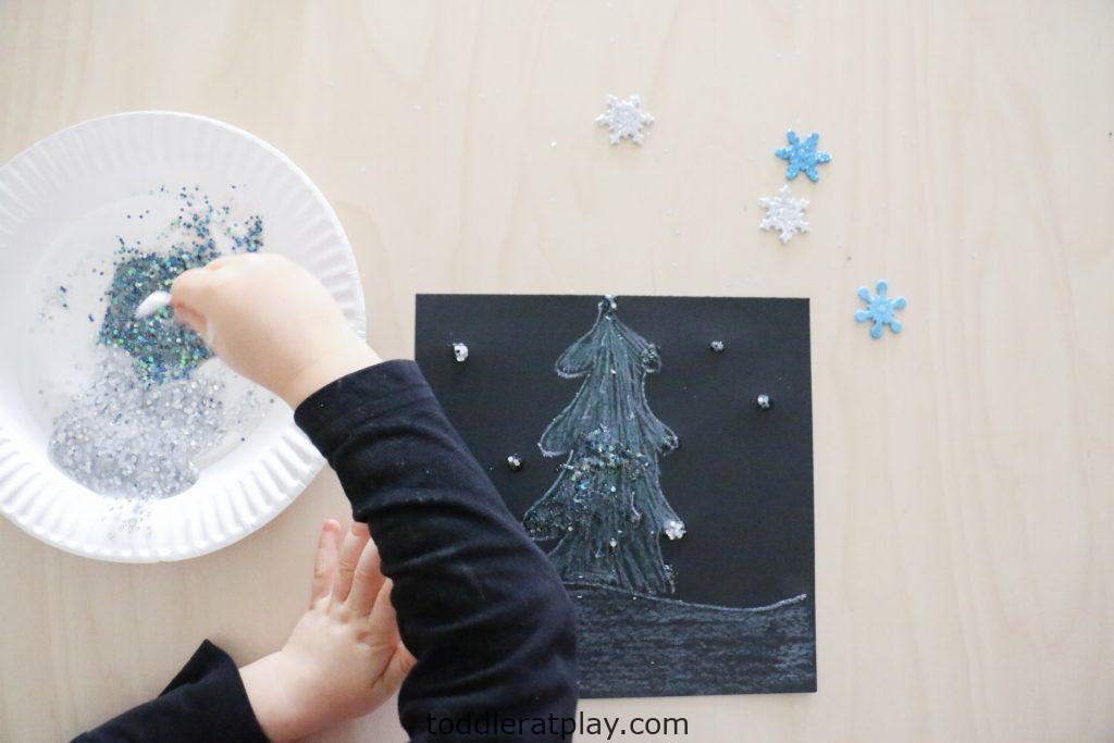 glittery winter scene craft- todder at play (4)
