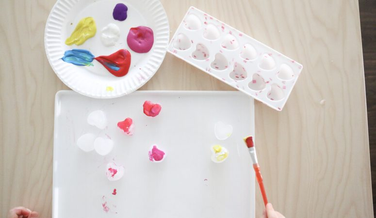 Painting Heart Ice Cubes