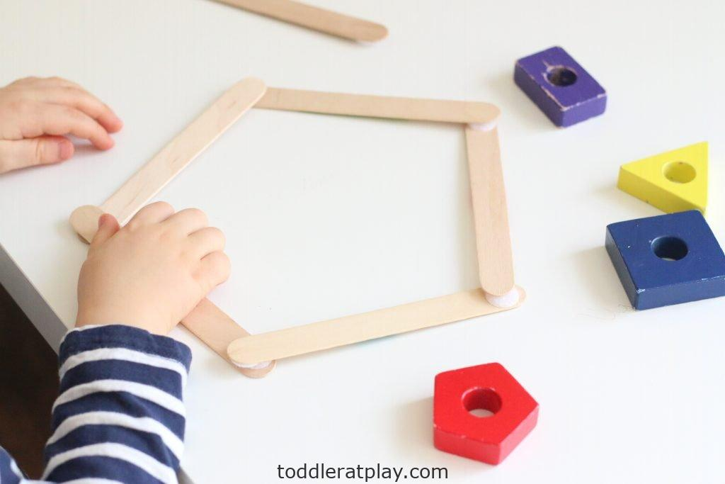 building popsicle stick shapes activity- toddler at play (7)