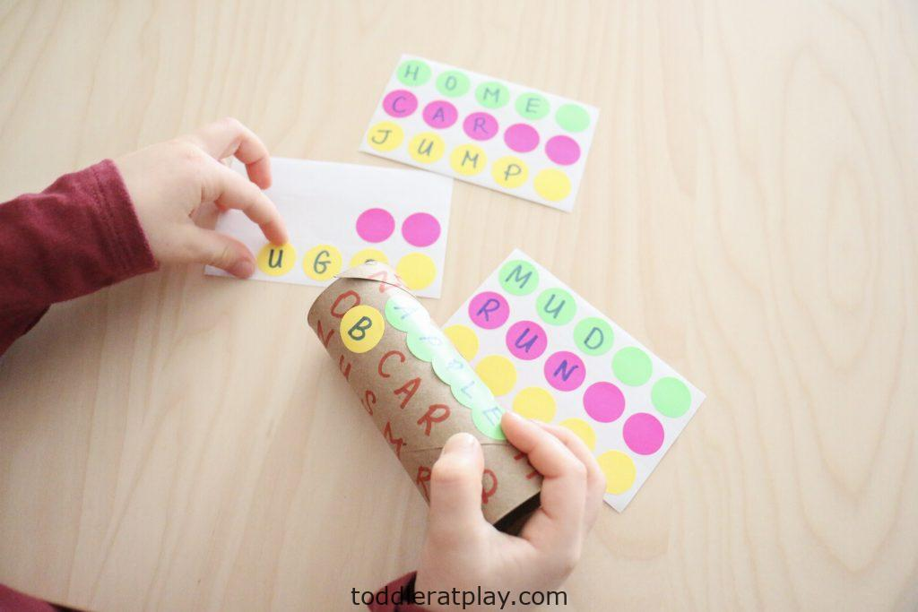 paper roll word search activity - toddler at play (2)