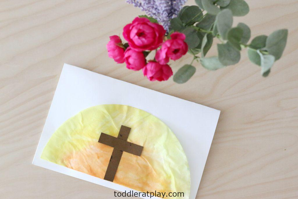 coffee filter easter sunrise card (4)- toddler at play - Copy