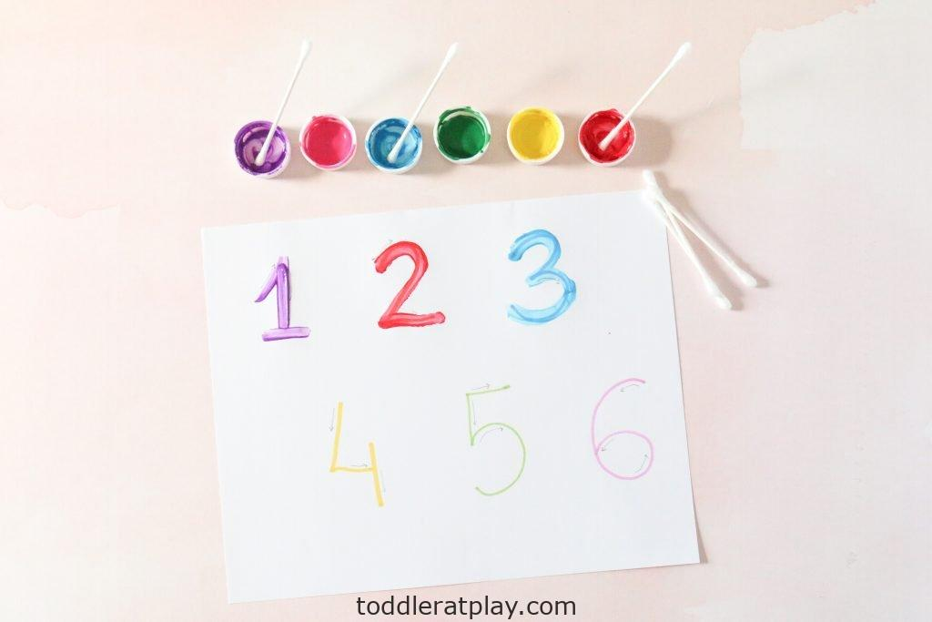 q-tip number tracing activity - toddler at play (2)
