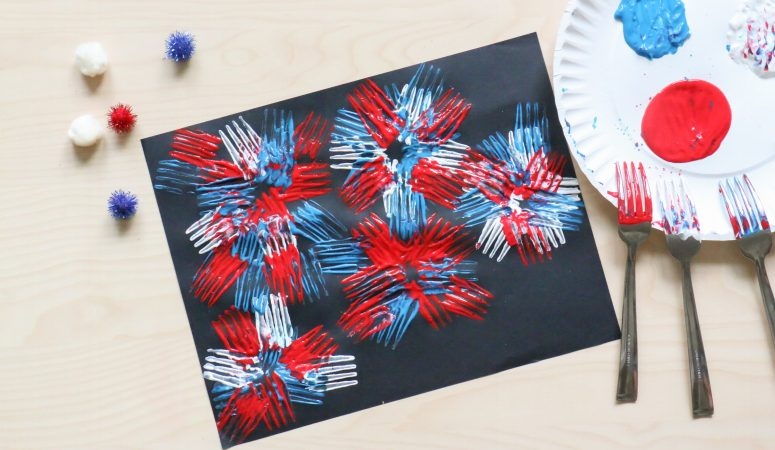 Fork Stamped Fireworks Craft