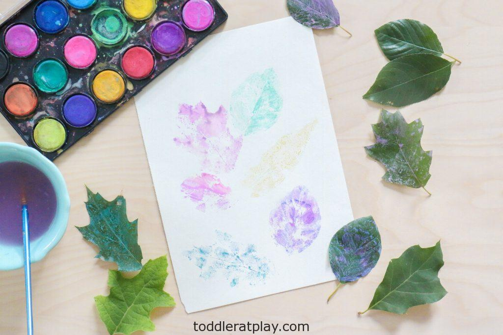 watercolor leaf art - toddler at play (6)