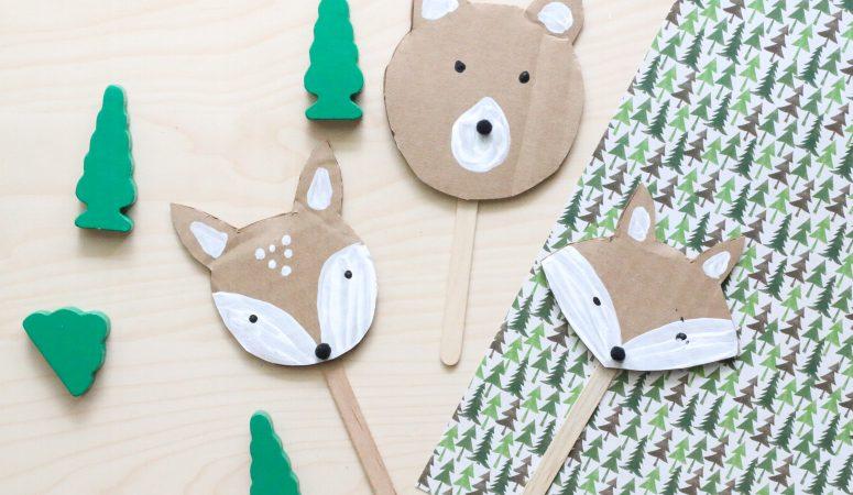 Cardboard Woodland Animal Puppets