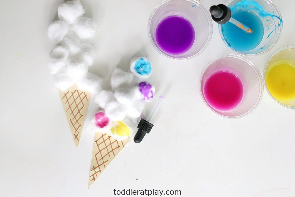 cotton ball ice cream craft- toddler at play (14)