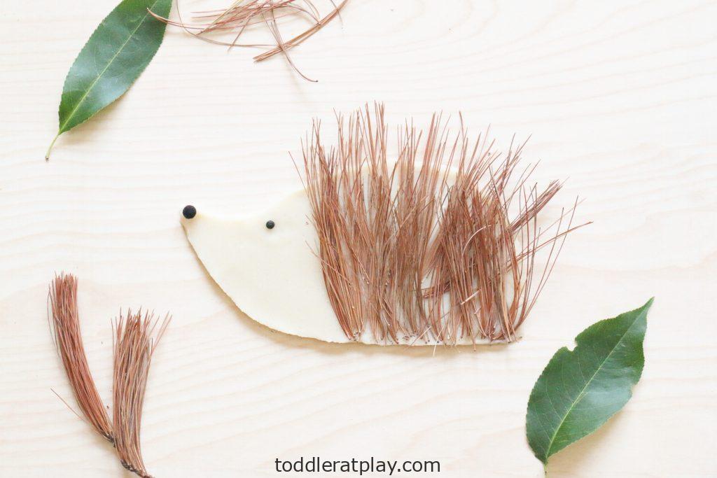 pine needle hedgehog craft - toddler at play (4)